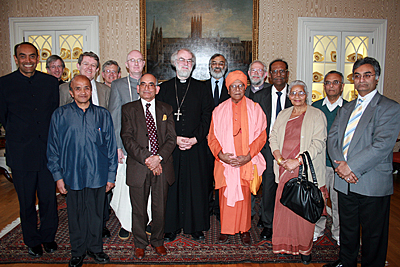 Archbishop with Hindu guests at Inter Faith lecture