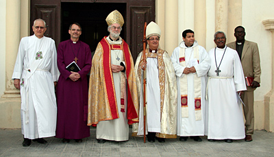 The Archbishop with local clergy