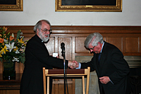 Professor Prys Morgan presenting the Medal to the Archbishop