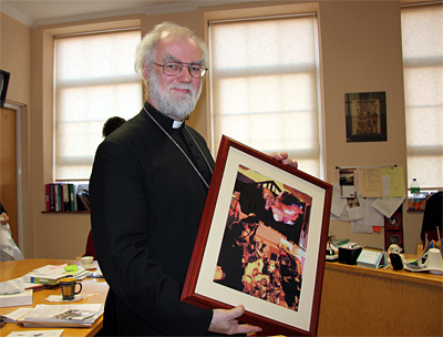 The Archbishop with an art piece from Abp Tenison's School