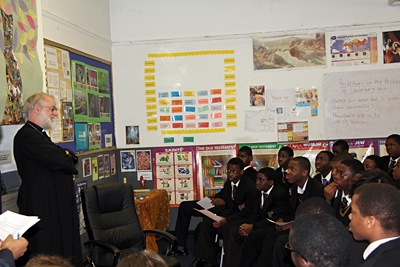 The Archbishop with a class at Abp Tenison's School