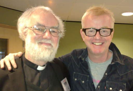 The Archbishop with Chris Evans at the BBC Radio 2 studio