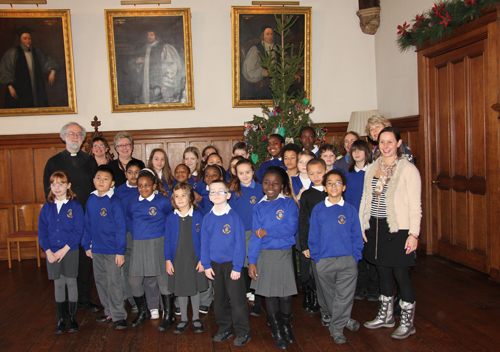 Students from Bonneville School with Archbishop Rowan and the Lambeth Palace Christmas Tree