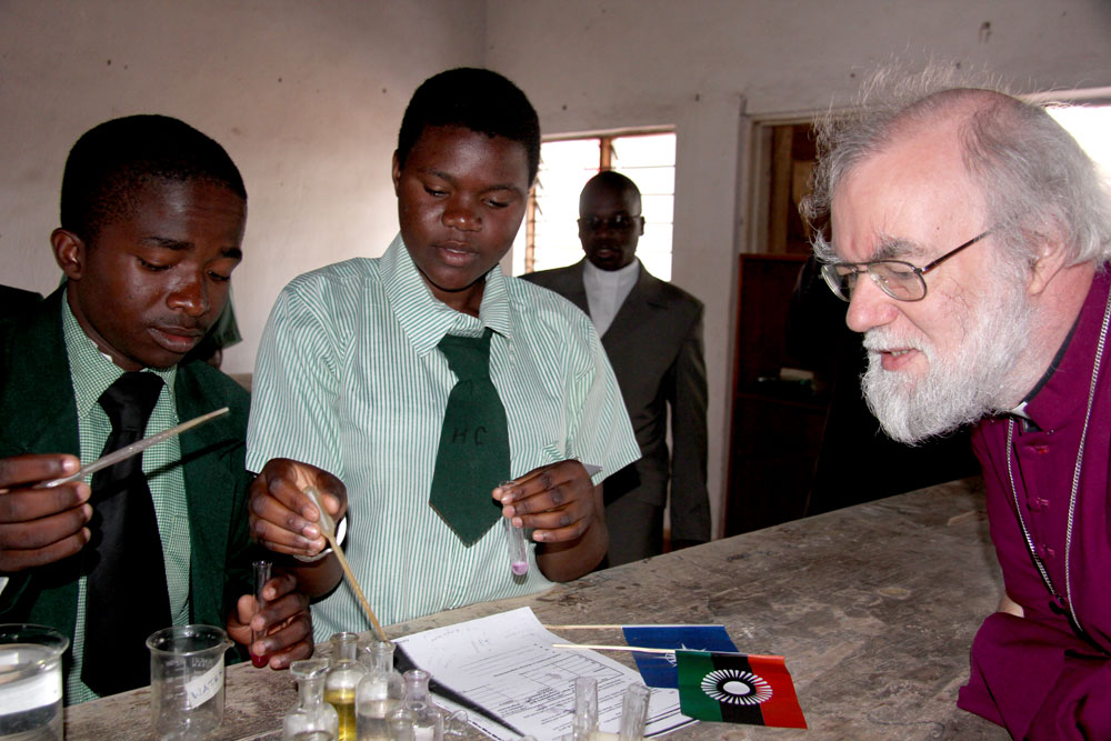 Archbishop Rowan with chemistry students at Trinity Secondary School, Malawi