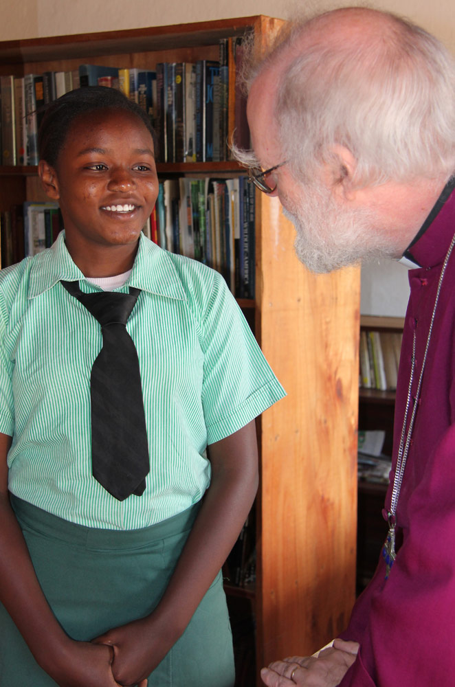 Archbishop Rowan visits the library at Trinity Secondary School, Malawi