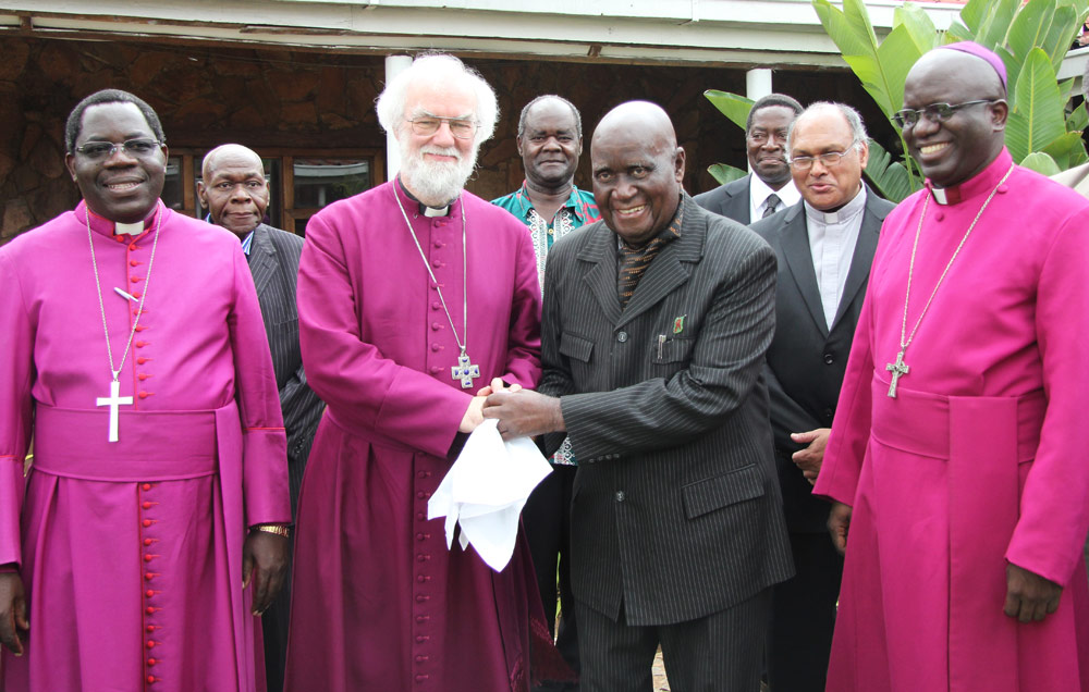 Archbishop Rowan with Kenneth Kaunda and (left) Bishop David Njovu and (right) Archbishop Albert Chama