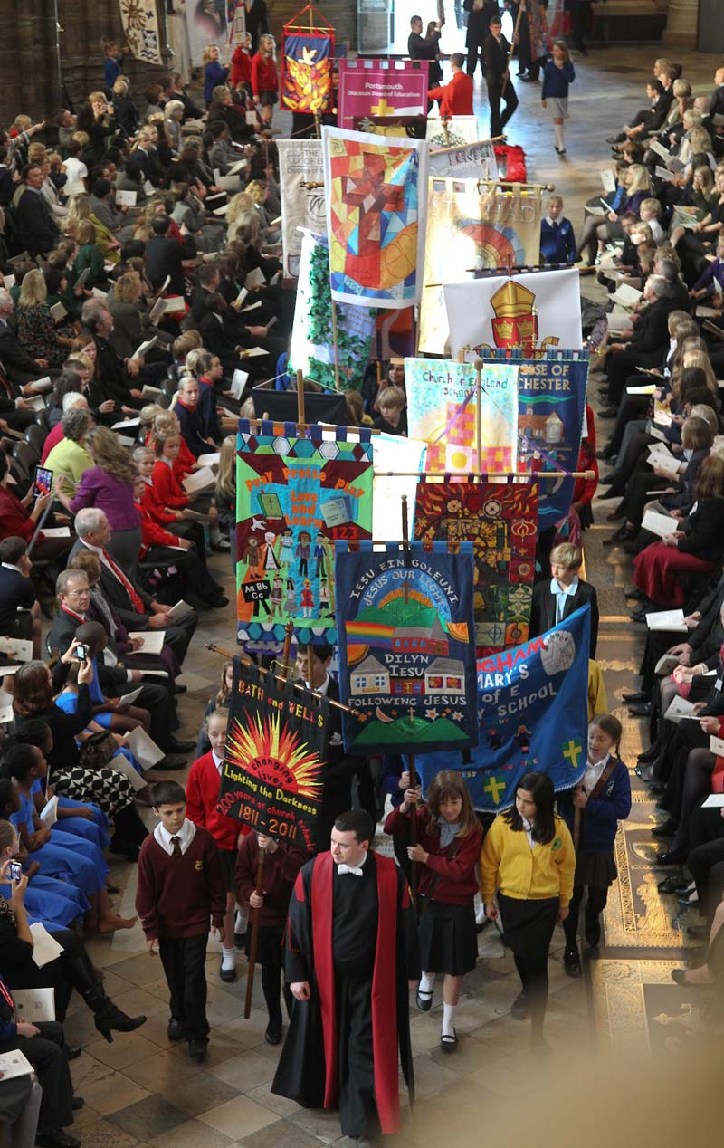 Banners celebrating the founding of the Church of England's National Society