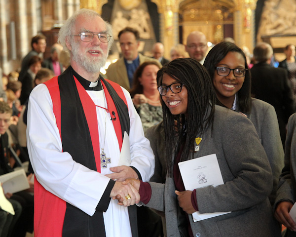 Archbishop celebrates with students in Westminster Abbey