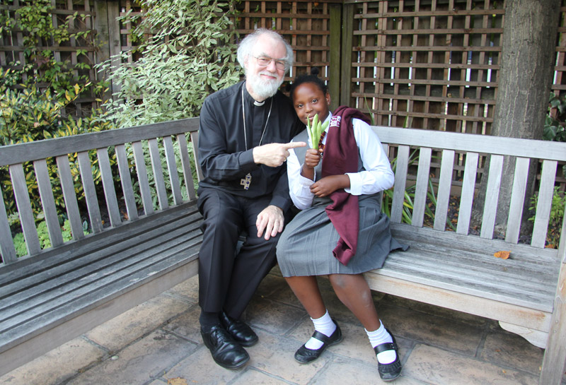 The Archbishop with student from St John the Divine Primary School