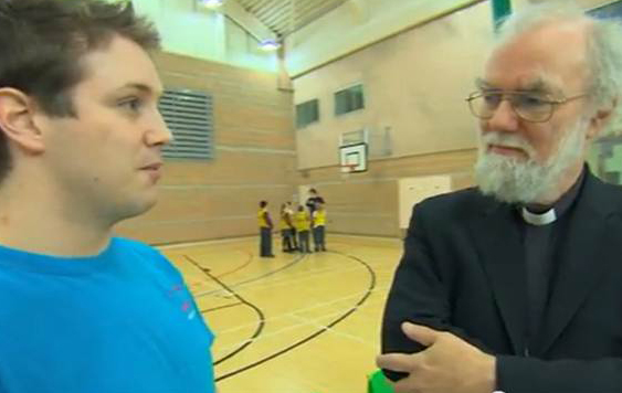 Archbishop Rowan at The Salmon Youth Centre, London. Video still credit: BBC