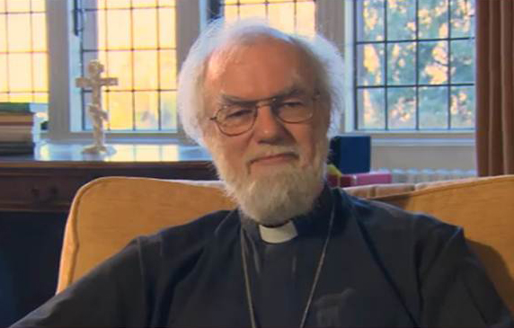 Archbishop Rowan delivering New Year Message for 2013. Video still credit: BBC