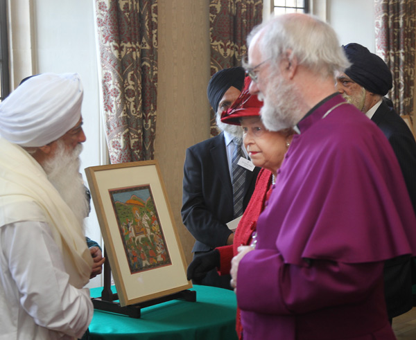 Sikh guests and their sacred object - painting of Maharaja Ranjit Singh