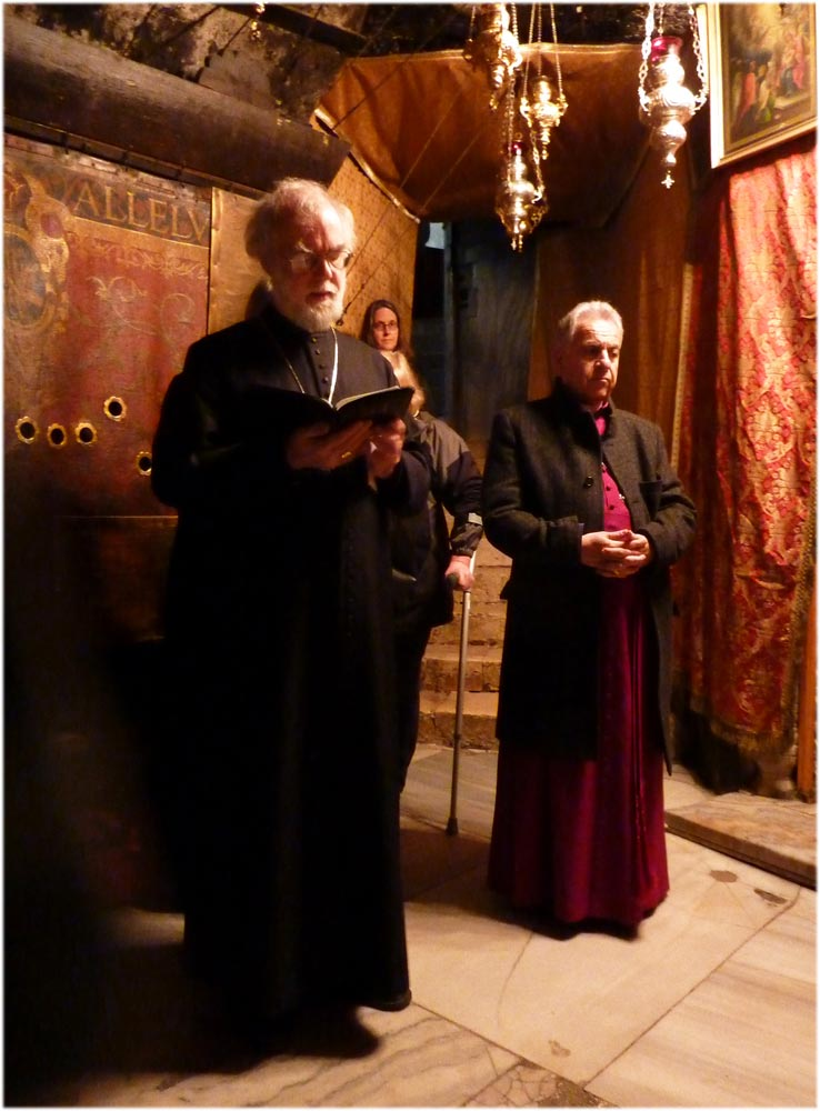 Archbishop Rowan and Bishop Suheil in the Church of the Resurrection, Jerusalem