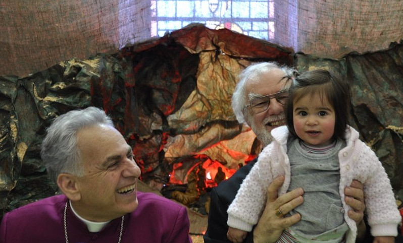 Bishop Suheil Dawani, Archbishop Rowan and child in Zababde, West Bank