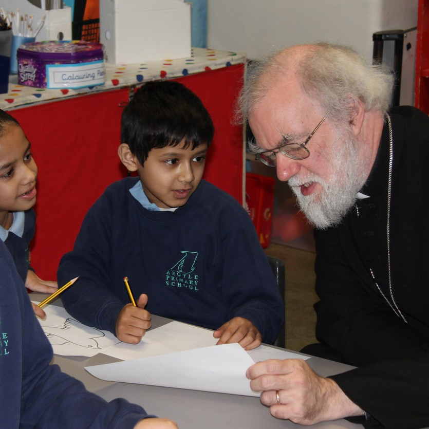 Archbishop and pupils at Argyle Primary School