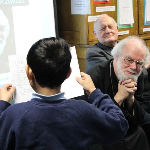 Archbishop Rowan at a primary school