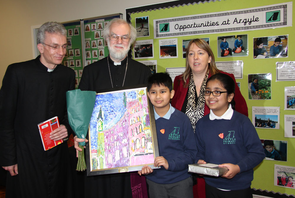 Argyle School students present the Archbishop with a picture