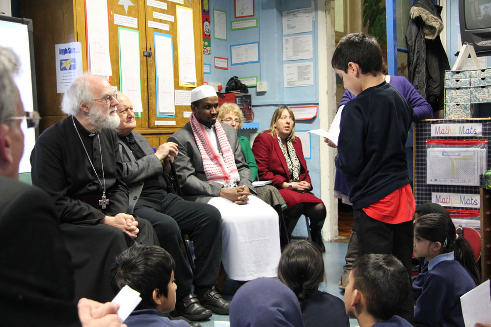 Archbishop Rowan with poets at Argyle Primary School