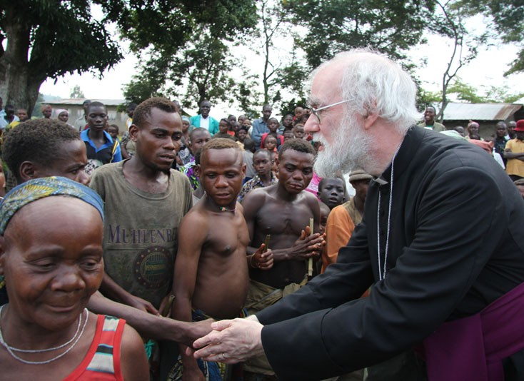 Archbishop Rowan with indigenous people in Democratic Republic of Congo, 2011