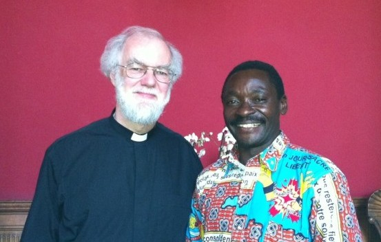Archbishop Rowan with Revd Bisoke Balikenga of the Anglican Church of Congo