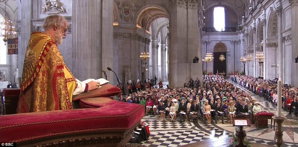 Archbishop Rowan preaching at the Diamond Jubilee Service.  Photo: BBC