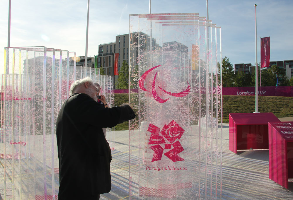 Archbishop Rowan signs the Truce Wall, London 2012 Paralympic Games