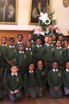 Pupils from St Jude's CofE Primary School with Archbishop Rowan
