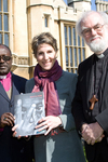 Anglican Archbishop of The Congo, Tamsin Greig and The Archbishop of Canterbury, March 2011 © Clive Mear Tearfund.