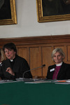 The Rt Revd Mary Gray-Reeves, the Revd Canon Lucy Winkett, the Rt Revd Kay Goldsworthy and Archbishop Rowan Williams on the panel of the 'Transformations' conference